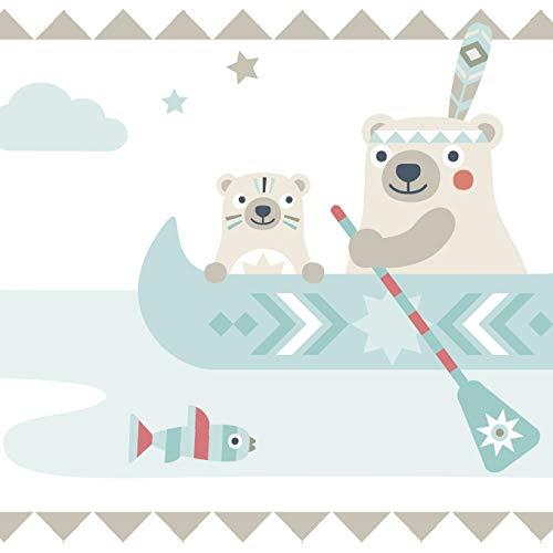 anna wand Bordüre selbstklebend LITTLE INDIANS BEIGE/TÜRKIS/ROT - Wandbordüre Kinderzimmer/Babyzimmer mit Indianermotiven & Tieren -...