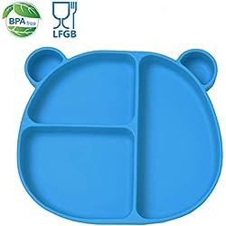 Homvik Plato de Silicona con Ventosa para Bebé Mantel Individual para Bebe Niños Plato Antideslizante Plato de Alimentación para BLW (Azul)