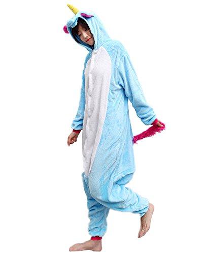 Minetom Einhorn Pyjamas Kostüm Jumpsuit Tier Schlafanzug Erwachsene Unisex Fasching Cosplay Karneval Einhorn Dunkelblau (Cheetah Mädchen Kostüm)