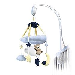 solini Musikmobile Wolkenbärchen - Mobile mit Spieluhr - hilft Babys beim Einschlafen - spielt Guten Abend, gute Nacht - weiß/hellblau/gelb