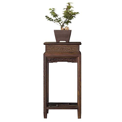 YINUO Mahagoni-Möbel Geschnitzte Massivholz Wohnzimmer Seite Blume Rahmen Huhn Flügel Holz Bonsai Indoor chinesische antike Blumentopf Regal braun Größe: 40x40x80cm - Chinesische Antike Holz-möbel