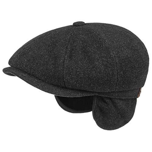 Stetson Hatteras Earflap Schildmütze Herren | Made in The EU Nackenschutz Ohrenschutz Schiebermütze mit Schirm, Ohrenklappen, Futter, Futter Herbst-Winter | 60 cm schwarz