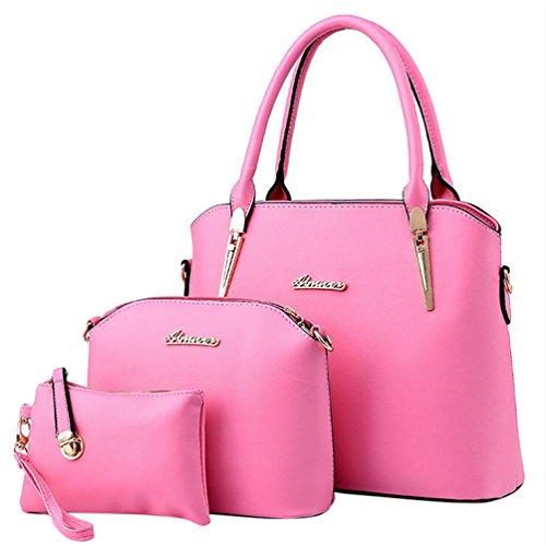 Baymate Elegante da Donna Retro Handbag Shoulder Bag Tote Bag 3 Pezzi Pink