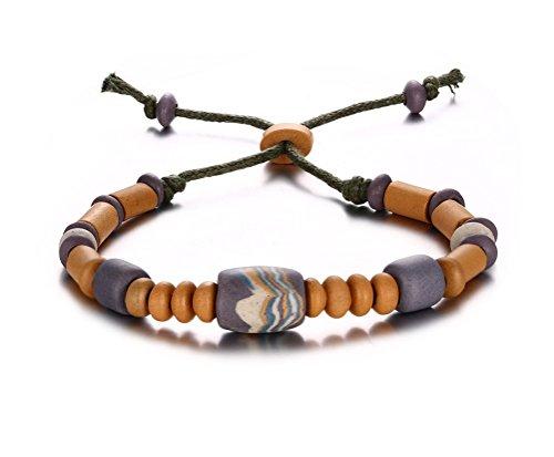 Da uomo, cordoncino, da donna, con perle in porcellana, motivo: filo intrecciato-Bracciale in corda con perline, lunghezza regolabile