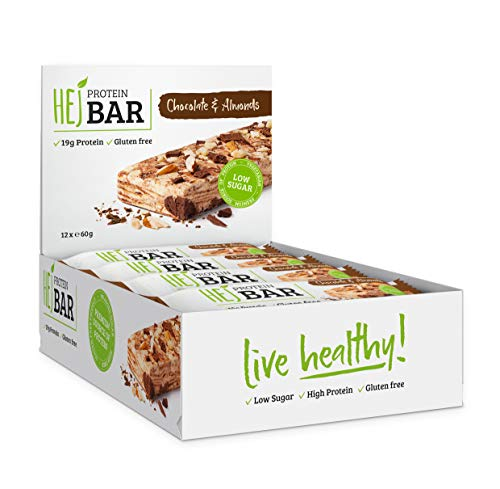 HEJ Protein Bar - Protein Riegel Low Carb - Eiweißriegel ohne Zuckerzusatz - Fitness Riegel Protein - 12er Pack (12 x 60g) (Chocolate & Almond) -