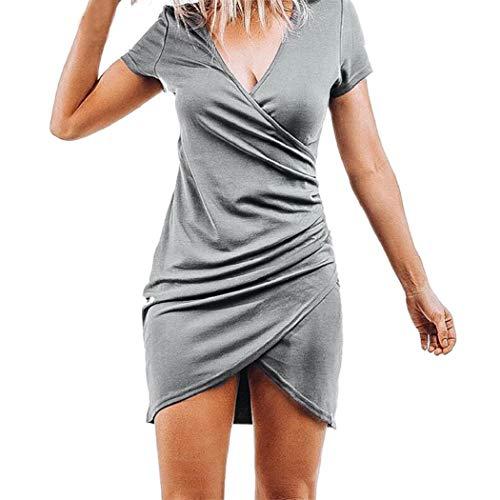 Rovinci Bodycon Damen Sommer Kurz Kleid Minikleid Sexy Kurzarm Kleider Blusenkleid Hemdkleid Nachtclub Club Mode Einfarbig Etui Kleid Partykleider Abendkleider Cocktailkleid Wickelkleider