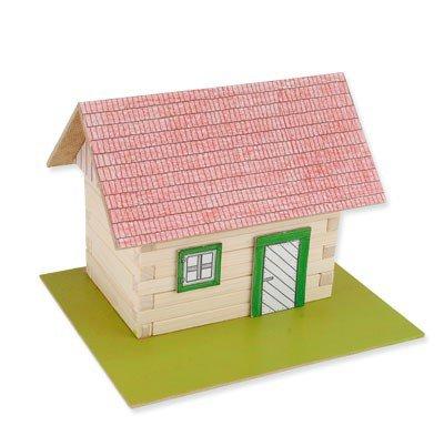 Preisvergleich Produktbild matches21 Blockhaus mit echten Holzbalken & einfacher Dachkonstruktion Holz Bausatz Bastelset Werkset f. Kinder ab 10 Jahren