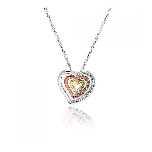 Rose Gold & Rhodium beschichteter aus Sterling Silber Klare Rosa gelben Zirkonia 3 mehrstufiger Herz Anhänger mit Halskette (10k White Gold Rosa Herz Ring)