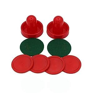 Sanzhileg Startseite Standard Mini Air Hockey Ersatz 96mm 2 Pusher Goalies 4 Pucks Filz Set für Spieltische Ausrüstung