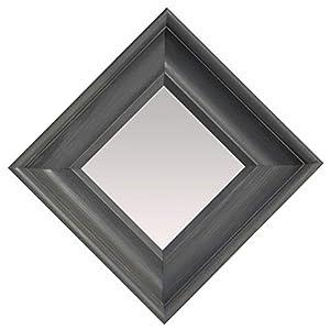 BD ART Wandspiegel Grau 35×35 cm zeitlos eleganter Holzrahmen, Grauer Quadratischer Holzspiegel