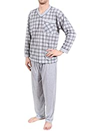 Hombre Pijama, largo, Algodón, Talla M L XL XXL XXXL