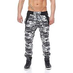 Baggy malito estilo camuflaje Pantalones con tirantes Pantalones Pantalón joggpants Sport Pantalón Loose Fitness Jogging Pantalones 1118Hombre Metro L