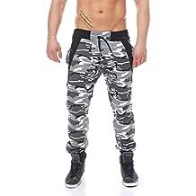 Malito 1118 Pantaloni da uomo, fantasia camouflage, con bretelle, adatti per il tempo libero e il fitness