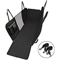 Dog Seat Cover with Mesh Viewing Window, OMorc Heavy Duty & Waterproof Large Backseat Cover with Nonslip Backing and Seat Anchors, Machine Washable Dog Travel Hammock Convertible with Mesh Yarn, Extra Storage Bag for Cars Trucks and SUVs Black