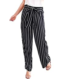 Infispace Women High Waisted Black & White Striped Palazzo Trouser Pants For Formal/Casual Wear