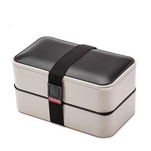 loiofoe One stapelbar 2Ebenen Bento Lunch Box + Gratis Fun Lunch Notizen, Besteck, Essstäbchen, 4Farbe Optionen–PREMIUM auslaufsicher für Erwachsene & Kinder, grau, 185*102*109mm Bento Box Mit Zwei Ebenen