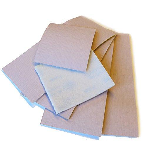 10 x Schleifpads Schleifschwämme 12,5x11,5 cm | Korn 320 | mittel-fein | einseitig kaschiert mit Schaumstoff | 10er-Pack