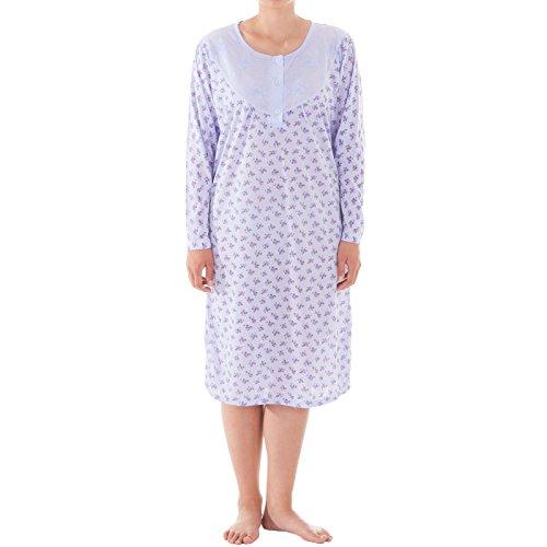 Romesa Nachthemd - langarm mit hochwertigem Blüten Druck , Größe:M;Farbe:Lila