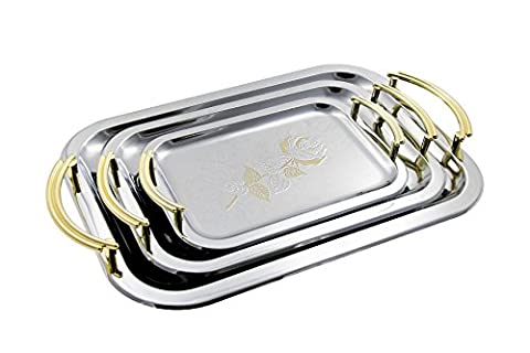 Stainless Steel Serving Tray Set with Handles for Fruit | Desert, Plate, Platters Set of 3 Different Size - Model