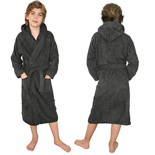 HOMELEVEL Kinder Frottee Bademantel aus 100% Baumwolle für Mädchen und Jungen Anthrazit 140 (Frottee-bademäntel Für Kinder)