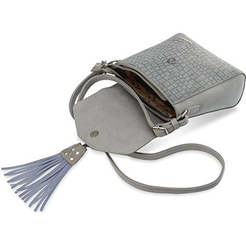 Hübsche Briefträgertasche Monnari Damentasche mit Fransen Krokodilhaut Dunkelblau