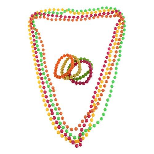Baoblaze Neon Perlen Halskette + Armband 80er Jahre Party Kostüm Schmuck, aus Plastik