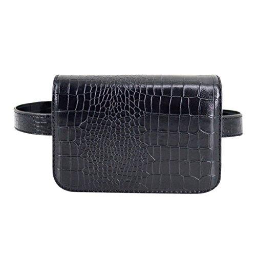 AiSi Damen Mode Hüfttasche, Kleine Modern Taillenbeutel Gürteltasche Bauchtasche, Mini Handytasche mit Verstellbaren Riemen aus Leder (Schwarz Mittelgroß)