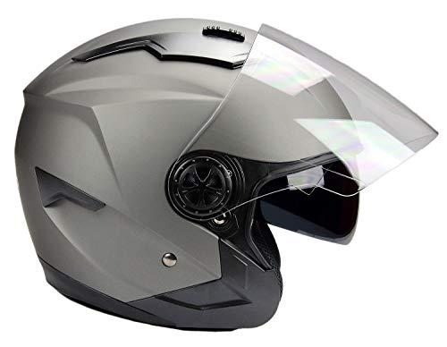 BNO Jethelm mit Langvisier Jet300 Motorradhelm Roller Helm Schutzhelm Matt Schwarz (S-XXL) (XL)