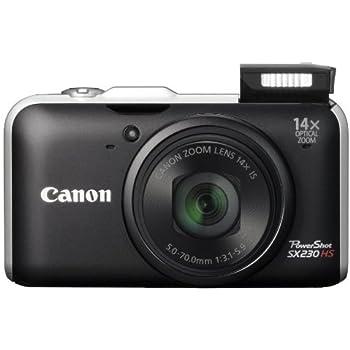 """Canon PowerShot SX230 HS Appareil photo numérique compact 12,1 Mpix Écran LCD 3"""" Zoom optique 14X Noir"""