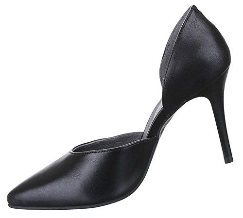 Damen Schuhe Pumps Leder High Heels Schwarz