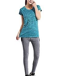 JIAJIA - Camisa deportiva - Túnica - Básico - Manga corta - para mujer