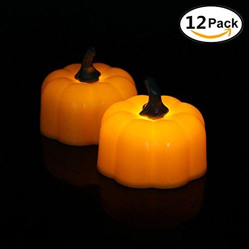 Halloween-Kürbis-Teelicht-Kerze LED beleuchtet - 12PCS, orange Kürbis-Farbenlicht, Halloween-Festival-Dekorationen LED-Lichter (Kürbis_2)