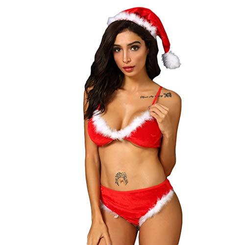 Kostüm Bustier & Samt Thong - Sunnywill Dessous Damen Sexy Offener Schritt Push Up Strapse Kostüme Neu Weihnachtsmütze Samt BH Unterhose Pyjama Set S 3XL