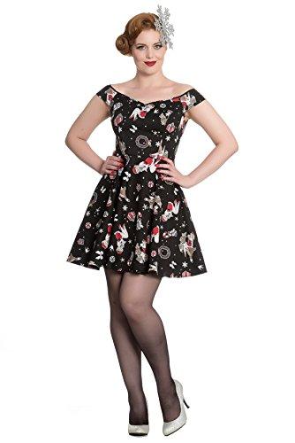 (Hell Bunny Blitzen Weihnachten Mini Kleid - Schwarz (L - 40))