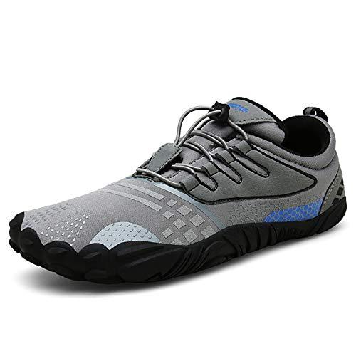 FOGOIN Barfußschuhe Fitnessschuhe Herren Damen Laufschuhe Trekking Schuhe Traillaufschuhe rutschfeste Schnell Trocknend Sportschuhe Gr44 Grau