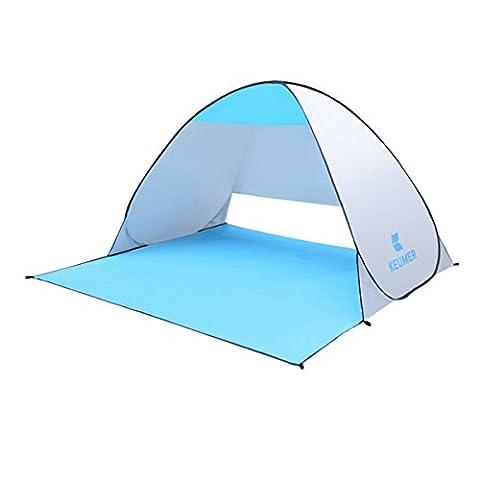 Geila Strand Zelt Pop-up-Zelt Anti UV Strand Schatten Zelt Sun Shelter Outdoor Automatik Schnell Falten Doppel Fischen Zelt (Helles Silber)
