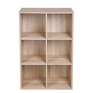 VASAGLE 6 Fächern Bücherregal Holzregal Flurregal Aufbewahrungsregal, 65,5 x 97,5 x 30 cm (B x H x T), Eichen-Optik LBC203H