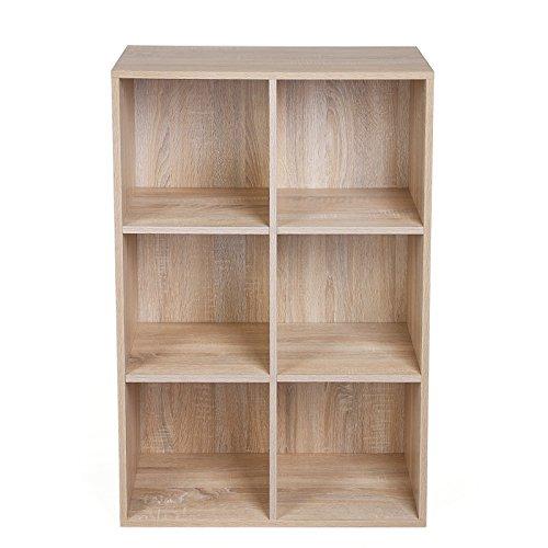 Songmics libreria scaffale mobiletto armadietto mobile in legno pannelli di particelle a 3 ripiani 6 scompartimenti di colore quercia lbc203h