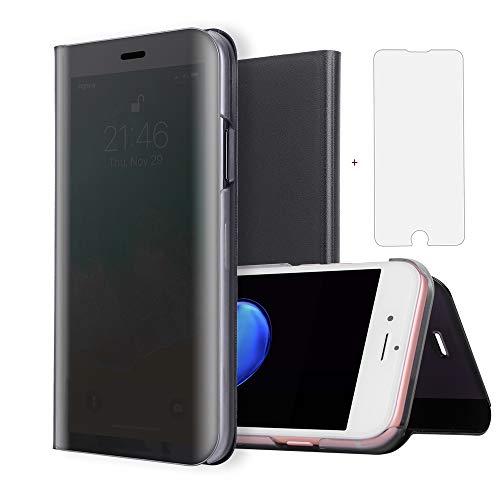 Asuwish iPhone 6 6s Plus Hülle Handy Leder klappbar Transparent Spiegel Stoßfest Staubschutz Schutzhülle Hardcase Flip Case Stand [Panzerglas + Handyhülle] für Apple 6plus 6splus(5.5 Zoll) Schwarz (6plus Case Hybrid Iphone)