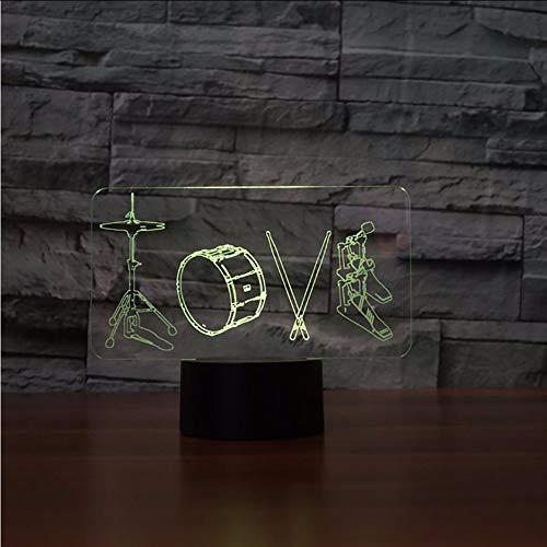 Xzfddn 3D Künstlerische Liebe Trommeln Modellierung Tischlampe 7 Farben Led Nachtlichter Für Kinder Touch Usb Lampe Leuchte Wohnkultur Geschenke