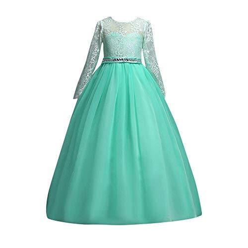 Mädchen Prinzessin Spitzenkleid Lang Weihnachten Kinder Baby Tutu Mini Ballkleider Abendkleid Elegant für Hochzeit Party Outfits Kleidung (140, Grün) ()