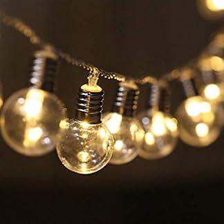 LED Cadena de Bombillas Transparente Decorativas, [5M, 40 LEDs] Luces de Cuerda Colgante a Pilas Vintage Iluminación Exterior/Interior para Decoración de Patio, Pérgola, Mirador, Porche