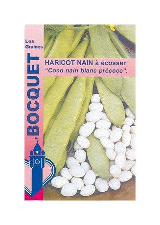 Les Graines Bocquet - Graines De Haricot Nain À Écosser Coco Blanc Précoce 115G - Graines Potagères À Semer - Sachet De 115Grammes