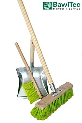 BawiTec Gartenbesen Kehrset 60cm mit Stiel Handfeger und Schaufel neon-grün