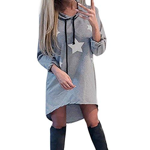 Elecenty Damen Kapuzen-Kleider Minikleid Pentagramm Drucken Partykleid Blusekleid Knielang Hemdkleid Solide Rock Mädchen Kleider Frauen mit Kapuze Langarmkleid Kleid Kleidung (XL, Grau) (Rock Maxi Drucken)