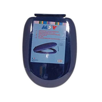 MSV Toilet Seat With Soft Close Dark Blue Amazoncouk Kitchen - Blue soft close toilet seat