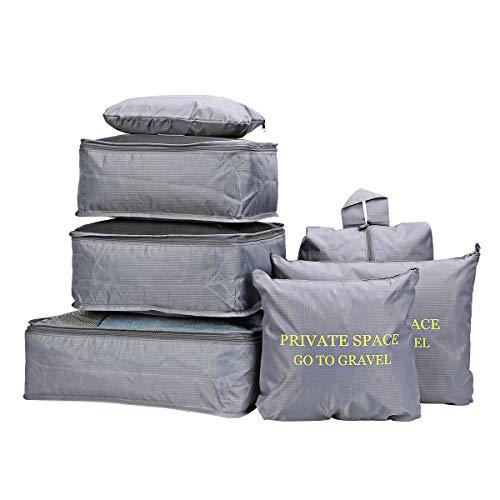 7 Stück Gepäck Verpackung Veranstalter Verpackungs-Würfel-Set für Reisen (Grau)