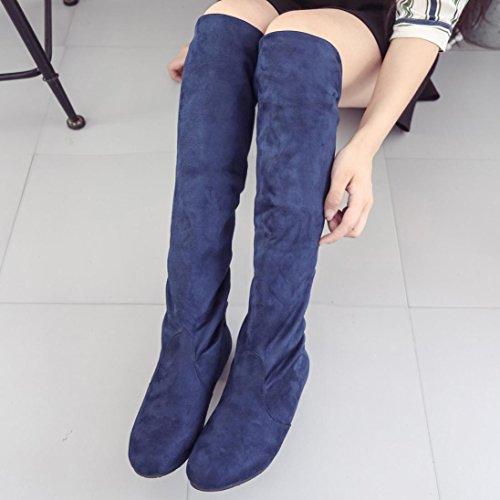 Hiroo Mujer Botas Planas Zapatos Botas largas largas del ante de la pierna alta Cómodo para caminar Caliente las botas altas de rodilla Toe Elastic