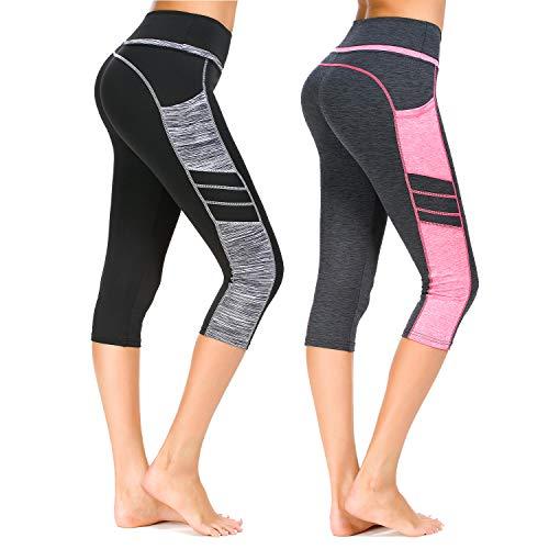 Munvot Damen Sporthose Sport leggings Tights, B2073 / 2er Pack (0310+1013), XXL (DE46-48)