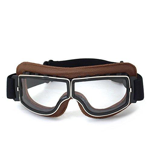 Vintage Motorradbrillen Schutzbrille für Augenschutz,braun/transparent Brillenglas -